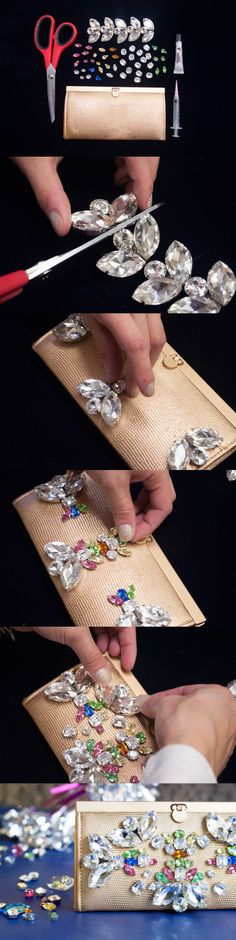 Amazingly Easy to Make DIY Fashion Projects- Jeweled clutch Diy Clutch, Diy Purse, Fun Crafts, Diy And Crafts, Diy Fashion Projects, Art Projects, Do It Yourself Fashion, Ideias Diy, Diy Schmuck