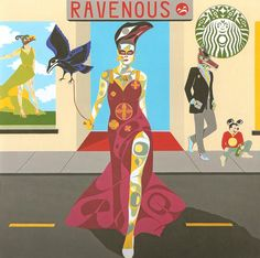 Ravenous by Rande Cook (Kwakwaka'wakw), acrylic on canvas on board, 6' x 6'