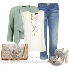 mint jacket, created by stacy-gustin on Polyvore