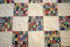 another view of this quilt, previously pinned. like mini-patchwork quilts within another quilt. i think i might actually start cutting small squares from my scraps, as i go, for an eventual version of this. Quilting Projects, Quilting Designs, Sewing Projects, Quilting Ideas, Antique Quilts, Vintage Quilts, Patch Quilt, Quilt Blocks, Postage Stamp Quilt
