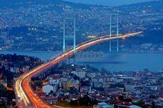 Traffic is seen crossing the Bosphorus Bridge on May 2011, in Istanbul, Turkey.