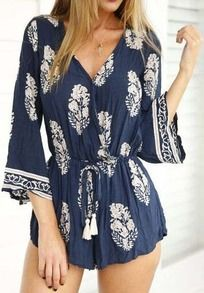 V Neck Drawstring Tree Print Jumpsuit
