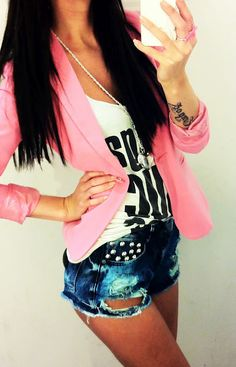 Pink blazer, tee, and  bleached shorts #summervibe