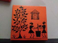 warli paintings on canvas 3 Worli Painting, Art Painting Gallery, Fabric Painting, Pottery Painting Designs, Madhubani Art, Indian Folk Art, Indian Art Paintings, Africa Art, Cool Art Drawings