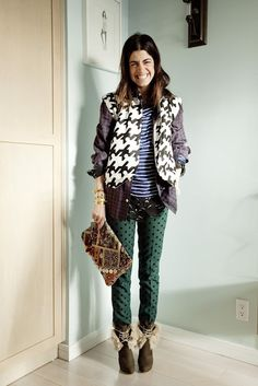 The Man Repeller mixes it up with brown hounds tooth and green textured pants