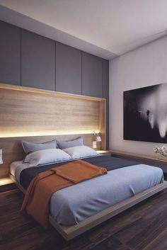 viele Hängeschränke über dem Bett für mehr Stauraum | Schlafzimmer ...
