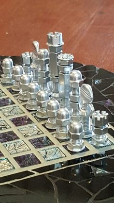 Still not finished with my hardware and scrap metal chess set. Welding Art Projects, Metal Art Projects, Metal Crafts, Fun Projects, Diy And Crafts, Welding Tips, Arte Bar, Scrap Metal Art, Chess Pieces