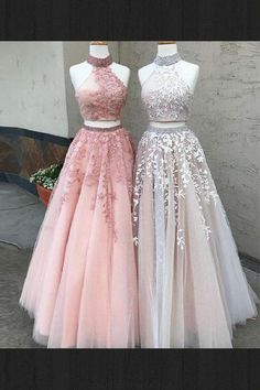 Lace Evening Dresses, Two Pieces Prom Dresses, Custom Evening Dresses, Prom Dresses 2019, Long Prom Dresses #Prom #Dresses #2019 #Custom #Evening #Lace #Long #Two #Pieces