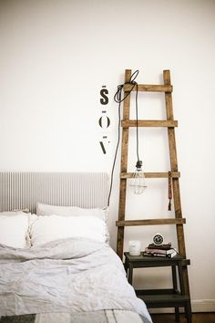 step stool + ladder = bedside table & lamp stand - Model Home Interior Design Industrial Style Bedroom, Vintage Industrial, Industrial Storage, Modern Industrial, Home Interior, Interior Design, Interior Styling, Interior Ideas, Interior Inspiration