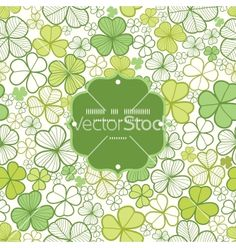 Clover line art frame seamless pattern background vector