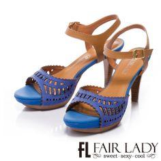 0-2200 Fair Lady 皮革鏤空雕花魚口涼鞋 藍 - Yahoo!奇摩購物中心 Fair Lady, Yahoo, Sandals, Heels, Fashion, Shoes Sandals, Moda, La Mode, Shoes High Heels
