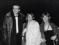 Anthony Perkins with Mia Farrow and Berry Berenson during Woody Allen's New Years Eve Party at Harkness House in New York City, New York.