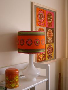 Diy Your own little bright space with this Vintage Lamp & Framed 60s Tea Towel by polly q, via Flickr