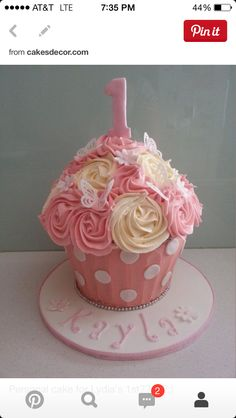 sand the butterflies.love this cake! Pink and Cream Giant Cupcake with Butterflies and Flowers Cake smash cake possibility Cupcake Torte, Giant Cupcake Cakes, Large Cupcake, 1st Birthday Cakes, Baby 1st Birthday, Birthday Ideas, 11th Birthday, Beautiful Cakes, Amazing Cakes