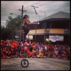 The Space Cowboy juggling this & that up on one of those things. #Bangalow Christmas Street Carnival 2013. | Flickr - Photo Sharing!