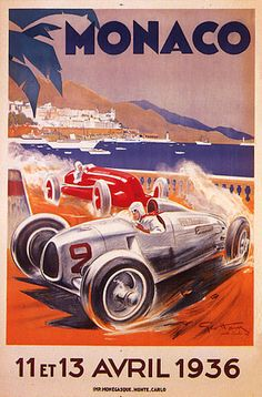 1936 April Road Red Car Race Monaco Monte Carlo Vintage Poster Repro 12X16   eBay
