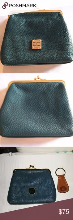 """REDUCED Teal Dooney & Bourke Kiss Lock Coin Purse Coin purse/small wallet, 6""""W x 5""""H x 1""""D, six credit card slots. Body 100% leather; red lining and key fob. Dooney & Bourke Bags"""