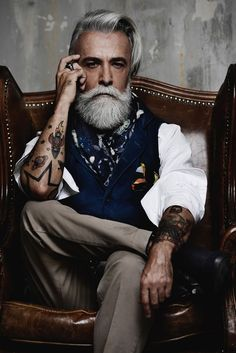 Handsome man =) old boys in 2019 hipster hairstyles, hair styles, beard sty Old Man Fashion, Mens Fashion, Hair And Beard Styles, Hair Styles, Hipster Hairstyles, Hairstyles Men, Short Hair Lengths, Beard Look, Men With Grey Hair