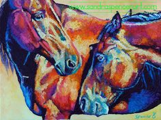 Original Horse Friends Bright Oil Painting 11x14 painted by knife