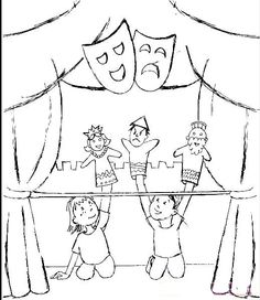 Art For Kids, Crafts For Kids, Theater, Theatre Design, Coloring Pages To Print, Puppets, Mandala, Art Pieces, Poster