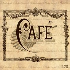Antique Cafe Sign Vintage Illustration Download and by popalicious, $0.99