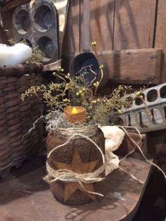 Primitive-Grubby-Jar-Lantern-Centerpiece-Cupboard-Tuck-Grubby-Candle-Arrangement