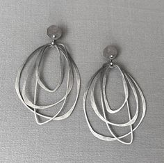 Oxidized Ombre Layered Hoops silver earrings by DevBennettJewelry