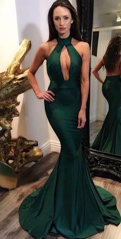Sexy Dark Green Backless Prom Dress London Fashion Week Autumn