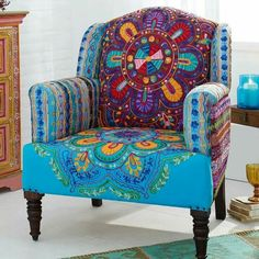 The bohemian / indian inspired print for this Gingar chair is so unique! - Trend Home Dekor Funky Furniture, Painted Furniture, Bohemian Furniture, Furniture Chairs, Upholstered Furniture, Furniture Stores, Furniture Ideas, Home Deco, Deco Boheme