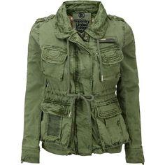 Superdry Flag Jacket ($160) ❤ liked on Polyvore featuring outerwear, jackets, coats, coats & jackets, khaki, women, army green jacket, green jacket, khaki military jacket and zip jacket