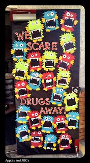 Apples and ABC's: Red Ribbon Week Door. Seriously my first year of teaching will be completely monster themed :P