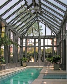 Steel and Glass Pool Pavilion by Tanglewood Conservatories
