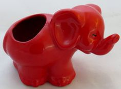Mid Century Red Elephant Art Pottery Planter by savingshepherd