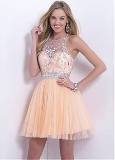 Gorgeous Tulle A-line Jewel Neckline Mini Homecoming Dress With Beadings and Rhinestones