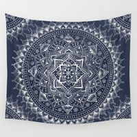 Wall Tapestries featuring White Flower Mandala on Dark Blue by Laurel Mae