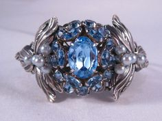 Upcycled Vintage Jewelry Cuff   Blue Rhinestones by VintiqueJools Gorgeous!