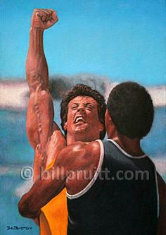Items similar to ORIGINAL oil painting Rocky 3 Apollo Creed Sylvester Stallone Rocky Balboa Bill Pruitt on Etsy Rocky Stallone, Rocky Sylvester Stallone, Rocky Film, Rocky 3, Rocky Balboa, Movie Shots, I Movie, Apollo Creed, Silvester Stallone
