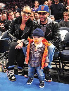 Alicia Keys and Swizz Beatz With Son Egypt   New York Knicks Game  2dd949815a