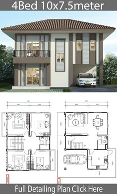 House design plan with 4 bedrooms – Home Design with Plansearch Haus Design Plan mit 4 Schlafzimmern – Home Design with Plansearch House Floor Design, 2 Storey House Design, Simple House Design, Bungalow House Design, House Design Photos, Modern House Design, Duplex House Plans, House Layout Plans, New House Plans