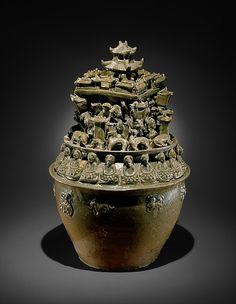 西晉 越窯神人樓閣紋青瓷瓶(魂瓶) Funerary Urn (Hunping) Western Jin dynasty (265–316) China…