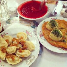 Traditional Bar Mleczny (Milk Bar) - Polish dumpling, Beetroot Soup, Schnitzel  (In Krakow, Poland)   http://www.driftwoodjournals.com/10-unmissable-things-to-do-in-krakow-poland-a-fascinating-guide/