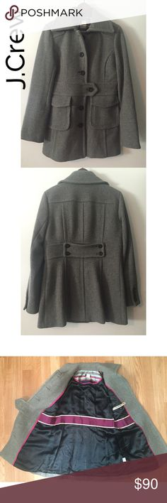 J.Crew gray winter wool coat sz 6. Gorgeous! J.Crew gray winter wool coat. Size: 6. Chest: 19 inches. Length (shoulder to hem): 30 inches. Gorgeous coat. Immaculate condition. Two front pockets with top flat. Black buttons. Lining is in perfect condition. Inner pocket. Amazing preowned condition. J. Crew Jackets & Coats
