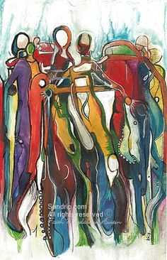On the Rise Drip Art Original Wet Acrylic Ink Abstract Figure
