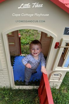 [Ad] Year-round fun is guaranteed with this cute Litte Tikes playhouse. It's big enough for an adult to sit inside. Kiddo can open and close the two big windows and the two red doors. There's a mailbox to push letters through. It doesn't have a doorbell, but it has two flag holders (it doesn't come with flags, but you can get them cheaply online). We put a foam carpet inside. Make sure you anchor it down well, and it will be sturdy and withstand many a storm. Little Tikes Playhouse, Sand Cake, Red Doors, Flag Holder, Big Windows, Toddler Toys, Play Houses, Mailbox, Knock Knock