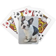 Personalized Bulldog Photo and Bulldog Name Playing Cards