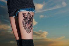 Deer Thigh Tattoo - 45 Inspiring Deer Tattoo Designs  <3 <3