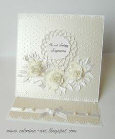 white pearlescent paper...dimensional flowers...easel card...gorgeous!! Wedding Anniversary Cards, Wedding Cards, Card Making Inspiration, Making Ideas, Spellbinders Cards, Cardmaking And Papercraft, Sympathy Cards, Greeting Cards, Fancy Fold Cards