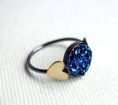 Electric Blue Druzy Ring with Brass Hearts by RachelPfefferDesigns