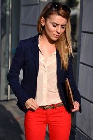 Navy Blazer, Nude Blouse, Red Pants