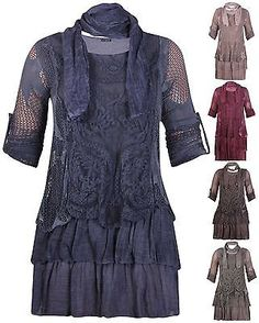Womens New Turn Up Sleeve Ladies Lace Line Crochet Made In Italy Scarf Dress Top